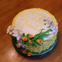 Spring Birthday chocolate cake with buttercream, gumpaste flowers
