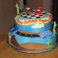 Disney Cars My first ffm, I loved making it. I got a lot of inspiration from the other cakes on this site. This was a 2 tiered cake top was white with...