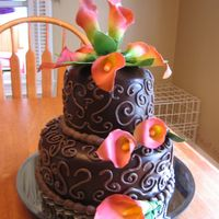 My First Poured Ganache Chocolate cake, whipped ganache filling, poured ganache, chocolate buttercream decor, airbrushed gumpaste calla lillies