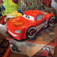 Lightning Mcqueen Made for my nephew's 2nd Birthday. Chocolate cake hand carved and covered with fondant.