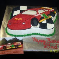 Race Car Cake Choc cake w/ bc icing made like my parents' late model dirt race car. My dad loved it!