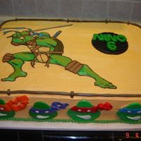Tmnt For my son's 6th birthday. He asked for that looking Leonardo (FBCT), ninja heads and accents are fondant.