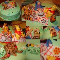 Winnie Pooh Birthday Picnic Party I took so many photos of this cake that it was hard to choose which to put here (so I made collage ), and there are so many details that...