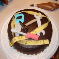 Tool Cake Chocolate cake with chocolate glaze and fondant tools for little boy's 4th birthday