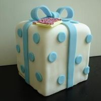 Mini Blue-Dotted Gift Box Cake