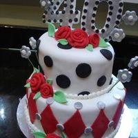 Black Dots And Red Diamonds Mad Hatter Cake