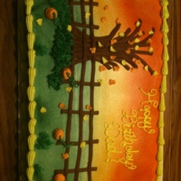 Fall Theme Birthday Cake   All buttercream with some airbrush. Fall theme.