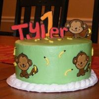 Monkey 1St Birthday Chocolate cake with BC frosting and RI accents