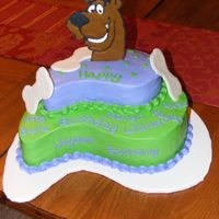 Scooby Doo Chocolate cake and top layer is Yellow cake all frosted in BC. The scooby and bones are RI.