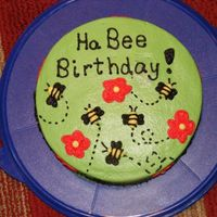 Ha Bee Birthday Yellow cake with chocolate peanut butter filling frosted in BC with BC accents.