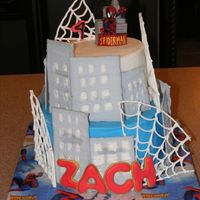 "Spiderman Building Chocolate 8"" and 6"" frosted in BC with RI buildings and spiderwebs and a spidey candle on top. Thanks for the inspiration from..."