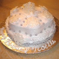 Snowflake Cake Vanilla cake with BC frosting and RI snowflakes