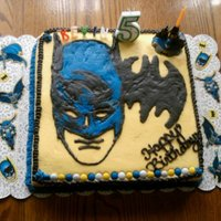 Batman Batman Cake, Design Hand Drawn then Buttercream Transfer