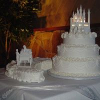Castle Wedding Cake Over 750 Flowers on this cake!!!Charged way too little!!Details, Details Details, will charge way more next time,if there is a next time!