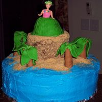 Luau Cake I made this for my daughter's end of the year school luau. Chocolate round cakes with fondant palm trees, graham cracker sand and a...