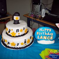 Birthday Idol I made this for my son's American Idol Birthday Party. Round chocolate cake with Chocolate icing then covered in Fondant decor.