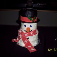Snowman Cake round snowman and buttercream cake