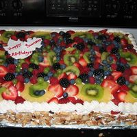 Yellow And Chocolate Cake With Fresh Fruit Topping