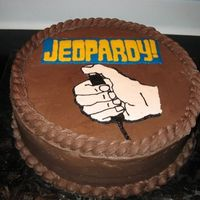 "This Is Jeopardy! This is a 12"" sour cream cake with chocolate icing and raspberry filling. I twas SOOOOOOOO yummy? And the occasion? Well, my DH was on..."
