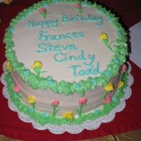 Spring Flowers Birthday Cake My house was too hot, so my all butter icing was a bit droopy, but it still worked!
