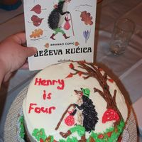 My Son's Favorite Book 4Th Birthday Cake  My son's favorite book is Jeeva Kućica which is Croatian. Title translates to Hedgehog's Little House. On top is Je (...