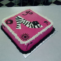 Zebra In Heels buttercream w/ fondant shoe