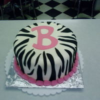 Zebra Stripes B   Buttercream base w/ fondant zebra stripes and letter B