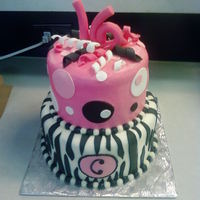 Zebra Dots buttercream and fondant
