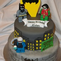 Lego Batman figures are gumpaste, tiers are painted 6 & 8 in.
