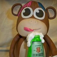Monkey Drinking A Beer