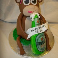Monkey Drinking A Beer Monkey is cake with a RKT head covered in choc fondant, bottle is RKT covered in fondant then painted with piping gel. The arms and legs...