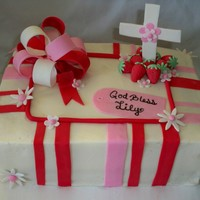 Baptism Cake Stripes, bow, cross and strawberries are gumpaste, Vanilla cake with BC and fresh strawberries