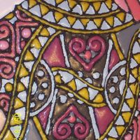 Queen Of Hearts Cake, Detail Pic 1 This is a close-up of the detail in the centre of the card. I mixed my BC glaze a bit too runny, and it ran over the borders in some spots...