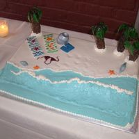 "Angie's Reception Cake  This was a 12""×18"" 2-layer Piña Colada cake I made at my sister's request for her wedding reception in..."