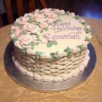 "Savannah's Basket Of Roses  This was a 9"" round, 3-layer pink rose-flavoured chiffon cake with almond icing & filling, ordered by the mother for her teenage..."
