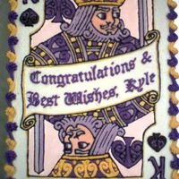 "King Of Spades Graduation Cake For Kyle  This was my first cake-for-hire, as it were. Also only the second time I've done a BC glaze. This was a 9""×13""..."