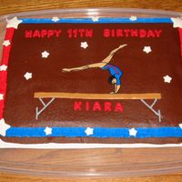 Gymnastics Birthday Cake  This was a yellow butter cake with dark chocolate buttercream icing. The gymnast is a FBCT that I found online. I used the basketweave tip...