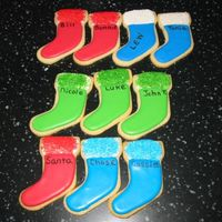 Christmas Stocking Cookies  No fail sugar cookies with Antonia's Royal Icing. I decided to write family members names on them to keep track of them as the...