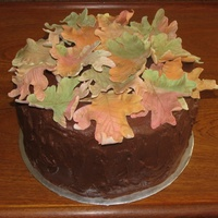 Fall Leaves I Gumpaste leaves brushed with lustre dust. Spice cake with chocolate BC icing. A fun and easy cake to make
