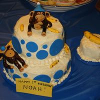 Monkey Cake  This was my son's first birthday cake. I got the idea from this site. I forgot to take the picture before I started to cut the cake....