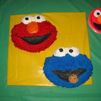 Elmo & Cookie Monster Cakes   These are my son's second birthday cakes.