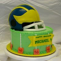 Fooball Helmet - Michigan buttercream, fondant, choc/choc chip with choc/choc chip