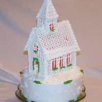 Christmas Church Royal church on butter cream cake with royal decorations. This is my version of the church posted by jkeeler. Thank you so much jkeeler for...
