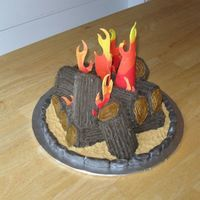 Bonfire Ii I made this cake for a friend's annual bonfire party. It's chocolate stout cake, buttercream frosting, fondant flames and stones...