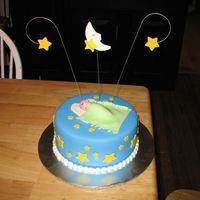 Shower_Cake.jpg A shower cake for a friend who's on her third child! WASC chocolate cake, buttercream, MMF on top. Fondant baby, blanket, and...