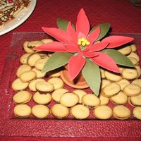 Fondant Poinsettia & Milano Style Cookies To make the presentation festive, I made a poinsettia bloom from fondant and attached it to floral foam in a terra cotta pot. The cookies...