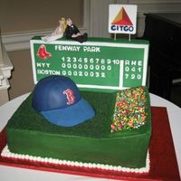 Fenway/red Sox Groom's Cake My cousin's fiancee asked me to do a Red Sox themed groom's cake for their wedding. He loved it! It's a chocolate stout cake...