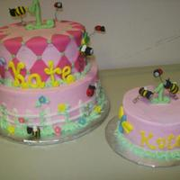 Lady Bugs & Bumble Bees Buttercream with fondant accents. Lady bugs & bumble bees are fondant