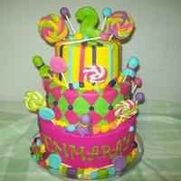 Candy Buttercrea, with fondant accents, fondant candy