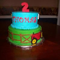 Tractor Cake Buttercream with fondant accents